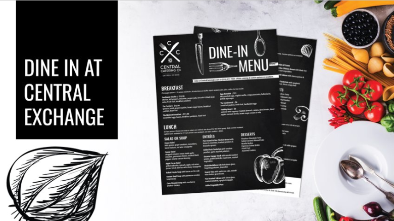 central catering co dine in menu preview